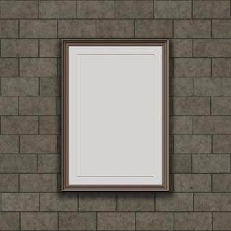 石の壁に掛かっているの空白画像フレームのレンダリング3d