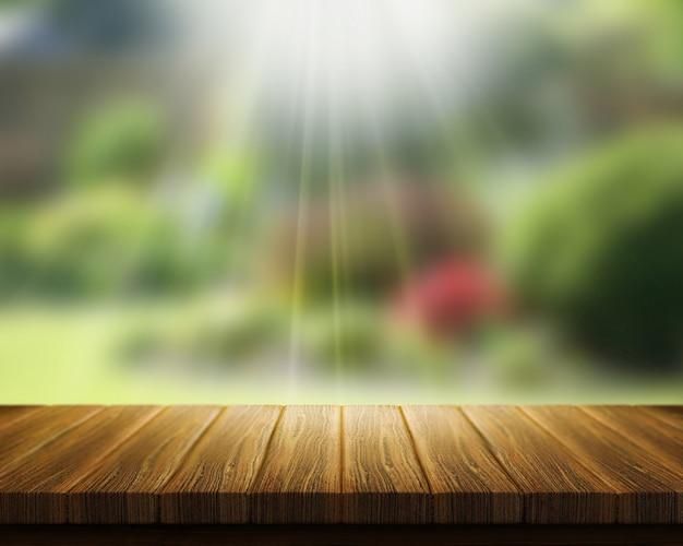 3d визуализации деревянный стол с видом на размытый сад с солнечными лучами
