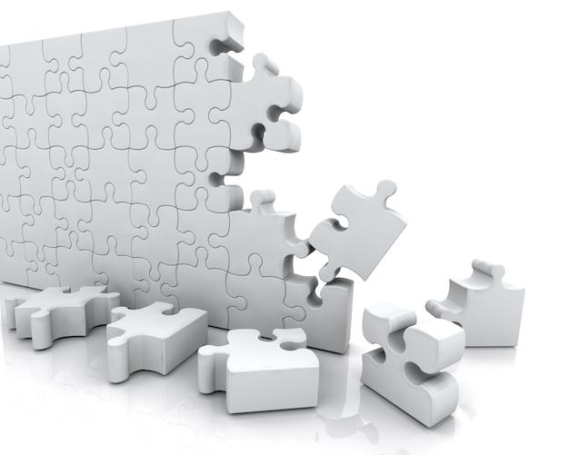 未完成のジグソーパズルのレンダリング3dは
