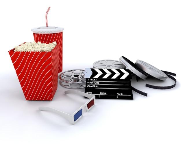 白の上に単離された3d映画関連機器