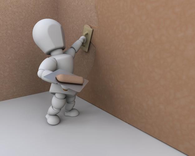 壁に漆喰を適用する3d建設作業員