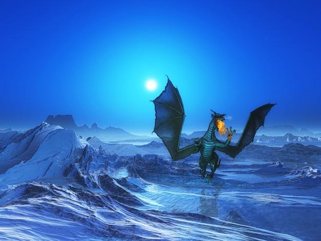 氷のような風景の中に火吹き竜のレンダリング3d