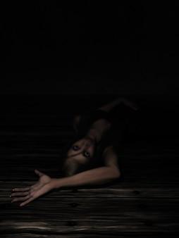 恐怖の中で腕伸ばして床に敷設女性のレンダリング3d