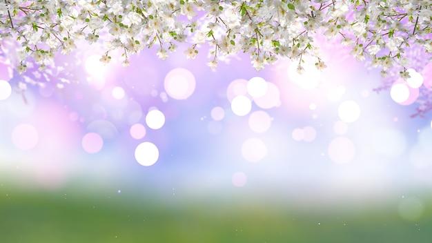 ボケライトの背景に桜の花のレンダリング3d