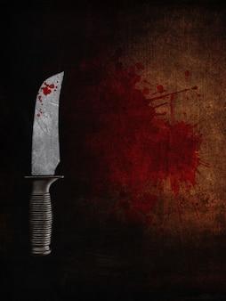 血まみれのグランジ背景に血まみれのナイフのレンダリング3d