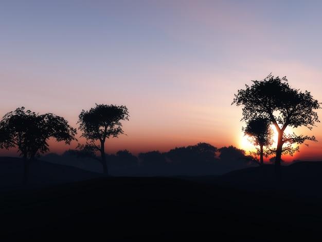 夕焼けの空を背景に木の風景のレンダリング3d