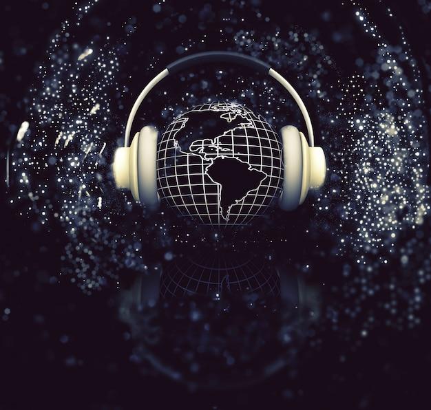 輝きの背景上のヘッドフォンと地球のレンダリング3d