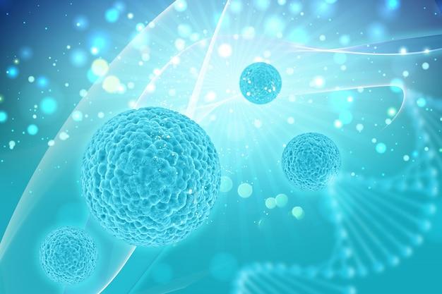 ウイルス細胞と医学的背景のレンダリング3d