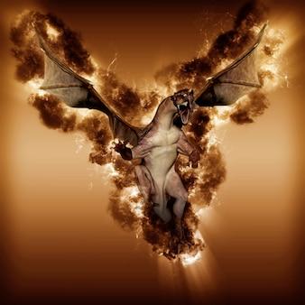 炎と煙の効果とファンタジードラゴンの3dレンダリング