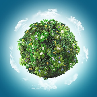 草や花に覆われた地球のレンダリング3d