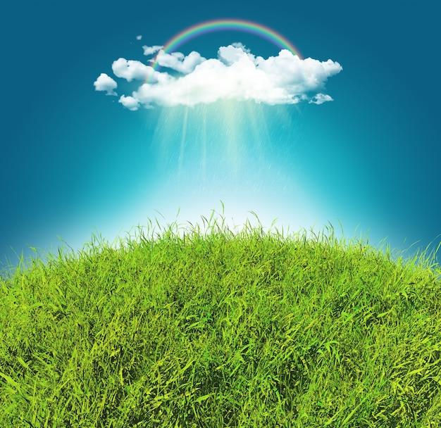 虹と雨の雲と曲線の芝生の風景の3dレンダリング