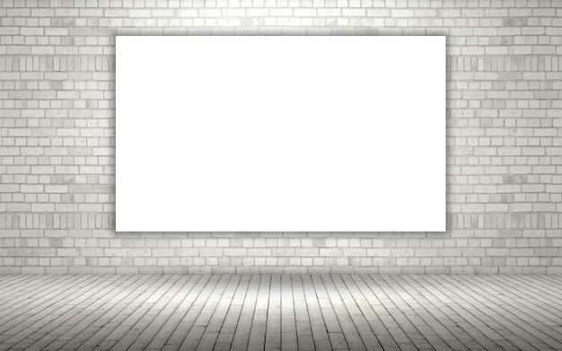 3d визуализации открытой кирпичной стены с пустой холст