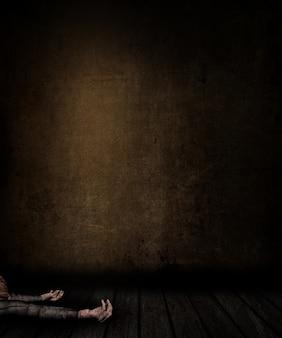 3d-рендеринг интерьера гранж-комнаты с запятнанными стены и пол и женщина, лежа на полу