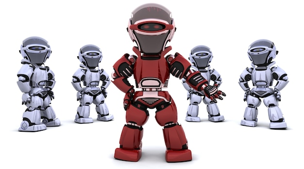 3d-рендеринг красного робота, ведущего команду