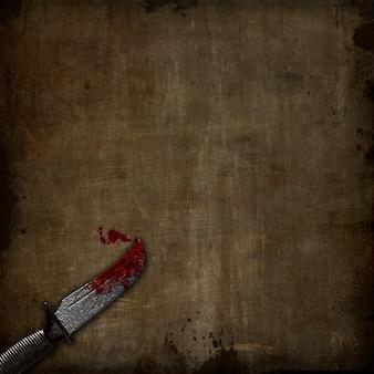 グランジの背景に血まみれの短剣の3dレンダリング