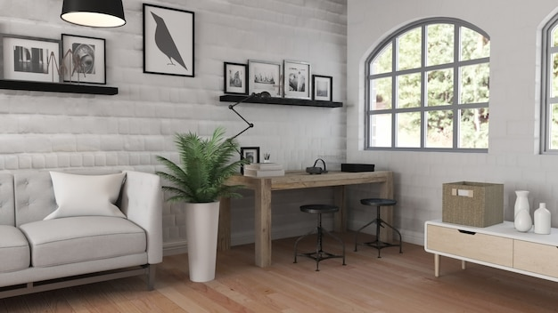 現代的なオフィスインテリアの3dレンダリング
