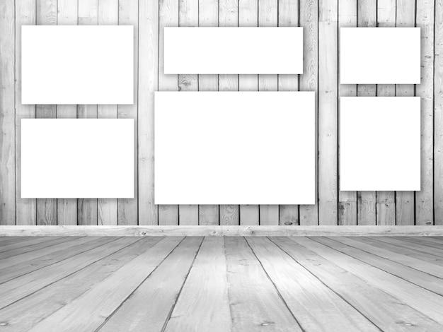 空のハンギングキャンバスと3d木製の部屋のインテリア