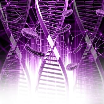 3d-визуализация медицинского фона с цепями днк и вирусными клетками