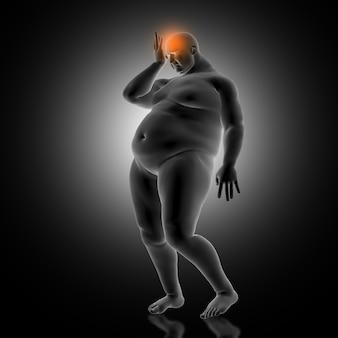 肥満の男性の頭を保持している医療の背景の3dレンダリング