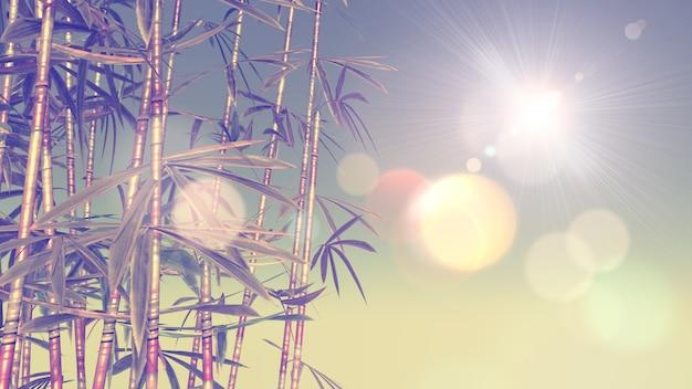 ビンテージ効果のある竹の3d画像