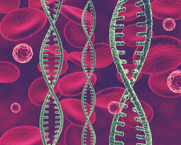 3d медицинский фон с цепями днк, клетками вируса и клетками крови