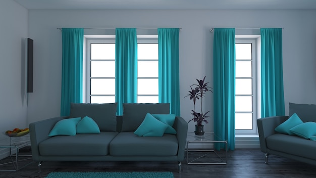 3dコンテンポラリーなリビングルームインテリアとモダンな家具