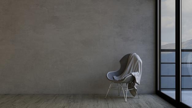 3d現代の空の部屋と椅子