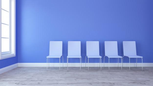 現代の空の部屋の3d椅子の列