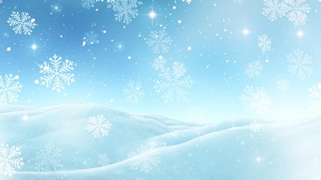 雪片と3dクリスマスの背景
