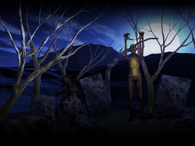 墓地にゾンビを持つ3dハロウィーンの背景