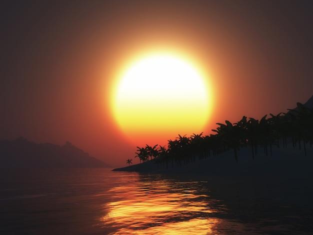 夕日の空に対して3dのヤシの木の島