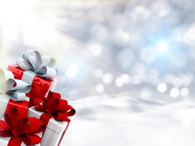 3d рождественские подарки в снежном пейзаже