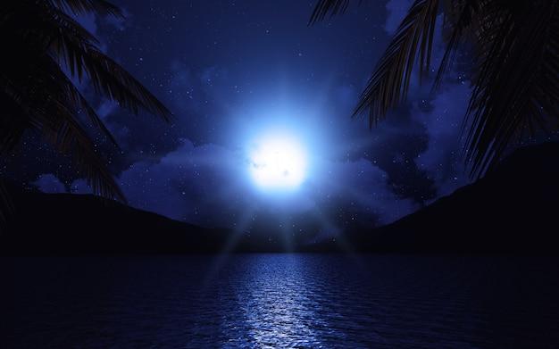 月光にヤシの木を持つ3d湖