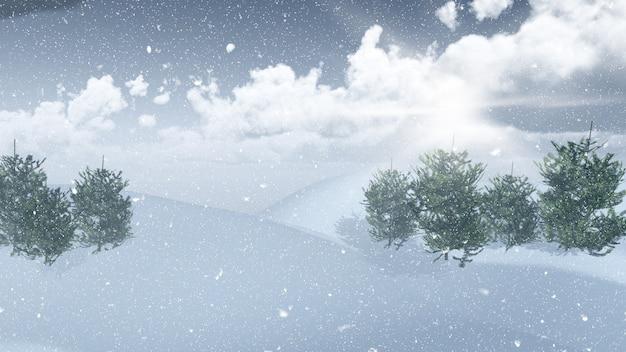 3d雪景色の風景