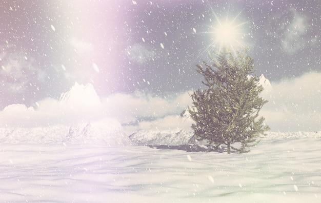 レトロ3dクリスマスの冬のシーン
