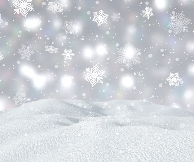 3d снежный пейзаж с падающими снежинками