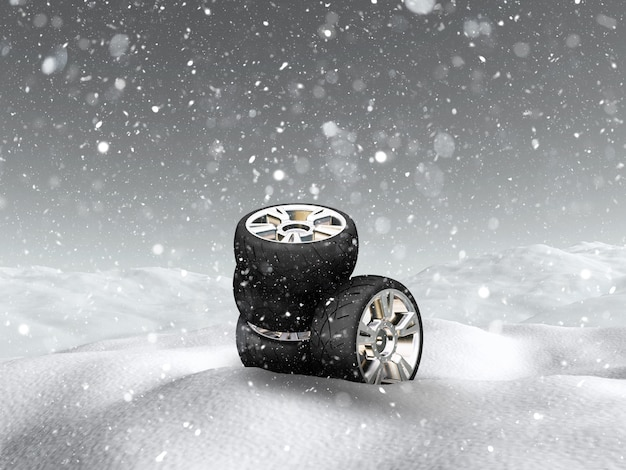 雪景色の3dカーホイール