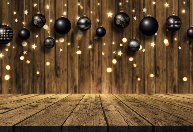 3d、木製のテーブルと木の背景にクリスマスの飾りをぶら下げ