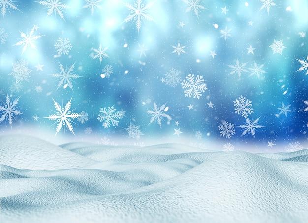3dクリスマスの雪の風景