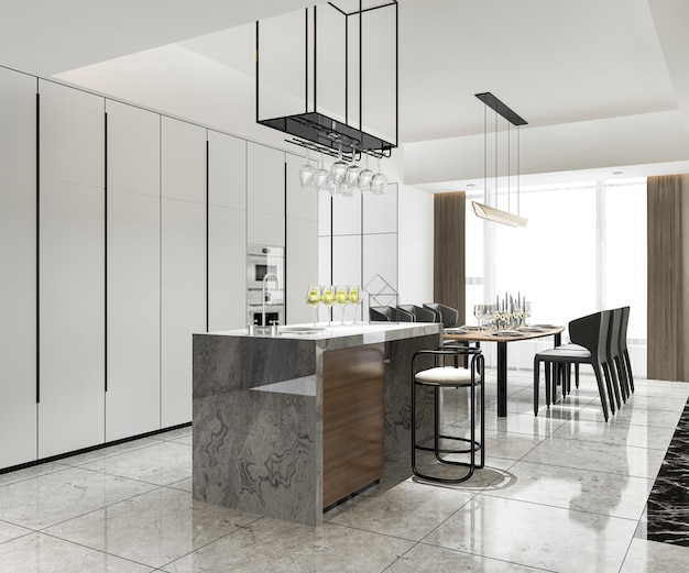3d-рендеринг скандинавской винтажной современной кухни с обеденной зоной