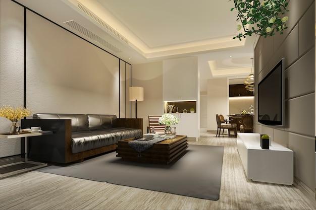 3d рендеринг современной столовой и гостиной с роскошным декором и кожаным диваном