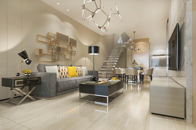 3d рендеринг современной чердак столовой и гостиной с роскошным декором возле лестницы