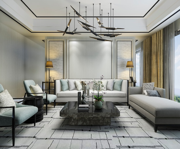 3d рендеринг роскошные классические стены в гостиной с диваном и люстрой