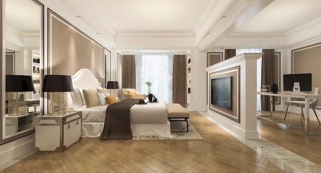 3d рендеринг красивая классическая спальня люкс в отеле с телевизором и рабочим столом и мебелью в европейском стиле