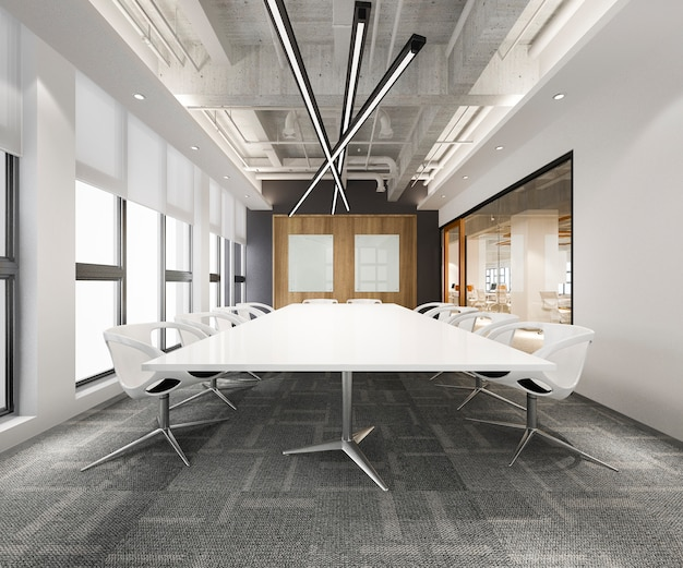 Комната деловой встречи перевода 3d на высотном офисном здании