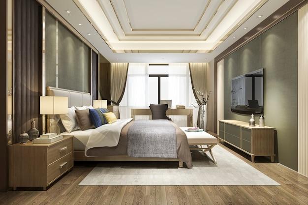 3d представляя красивый минимальный роскошный азиатский комплект спальни в гостинице с тв