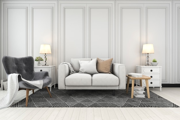 3d рендеринг макет кадр в гостиной с диваном
