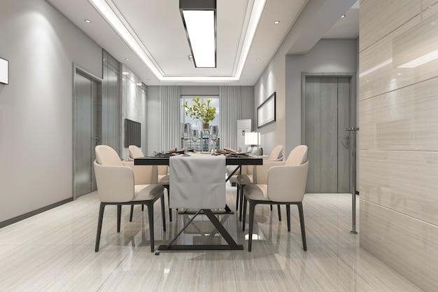 3d рендеринг современной столовой и гостиной с роскошным декором