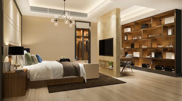 3d рендеринг красивая роскошная спальня в отеле с телевизором и рабочим столом и шкафом