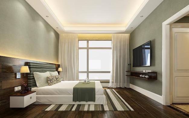 3d рендеринг красивый зеленый люкс спальня в отеле с телевизором